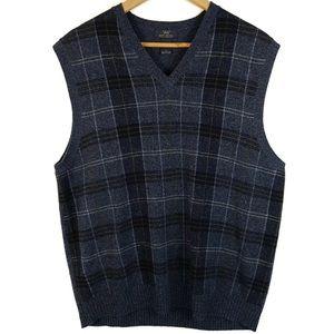 Brooks Brothers 346 Mens Blue Plaid Sweater Vest L